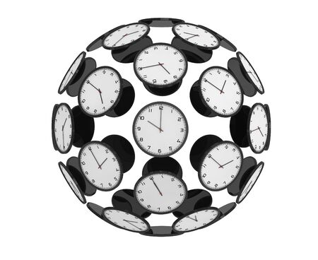 zones: International Time Zones Concept. Modern Clocks as Sphere on a white background