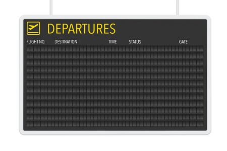 departures: Airport Blank Departures Table on a white background