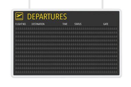Flughafen Blank Abflug Tabelle auf einem weißen Hintergrund