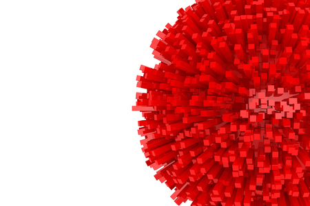 red sphere: 3d Blocks as Abstract Red Sphere on a white background