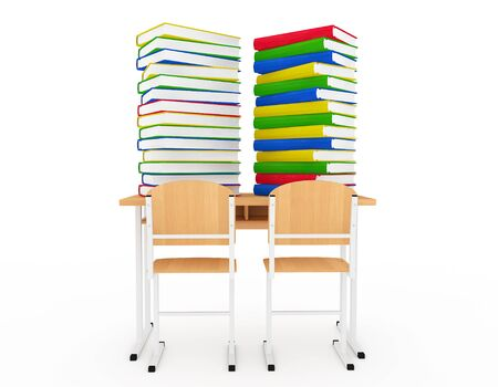 school desk: Stack of Book over School Desk on a white background Stock Photo