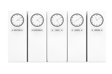 time zone: Time Zone Clocks showing different time in front of Columns Stock Photo