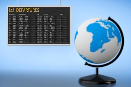 departures board: World Travel Concept. Airport Departures Board with Earth Globe on a blue background