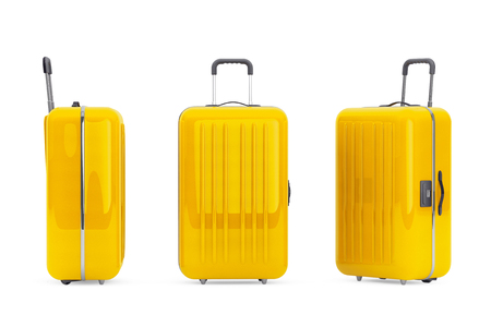 polycarbonate: Large Yellow Polycarbonate Suitcases on a white background