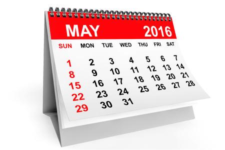 calendrier: 2016 année civile. Peut calendrier sur un fond blanc Banque d'images