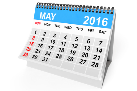 calendar: 2016 year calendar. May calendar on a white background