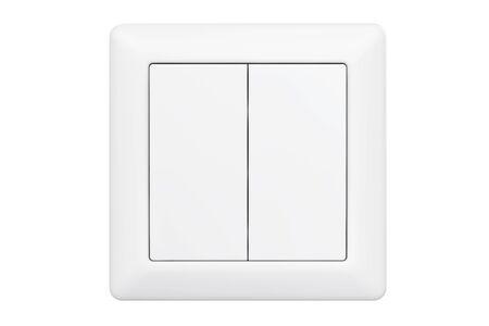 Modern Double Knob Light Switch on a white background 스톡 콘텐츠