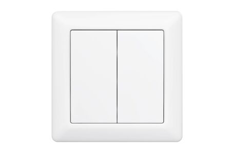 Modern Double Knob Light Switch on a white background Banco de Imagens
