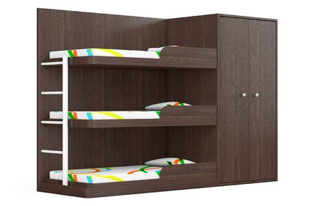 bunkbed: Wooden Bunk Bed on a white background. 3d Rendering