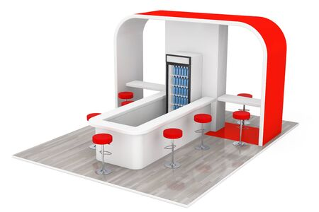 cafeteria: Bar, Cafe, Cafeteria, Fast Food Inerior Concept on a white background. 3d Rendering