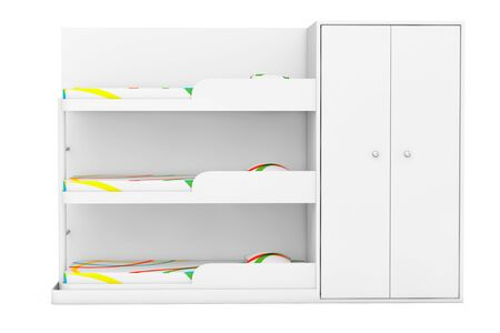 bunk: Simple Bunk Bed on a white background. 3d Rendering