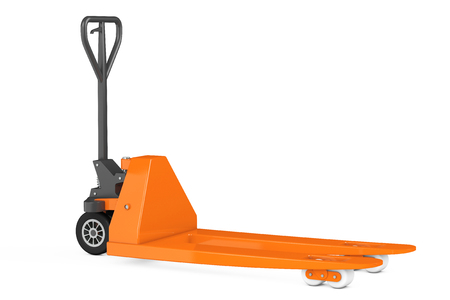 jack pack: Hand Pallet Truck on a white background. 3d Rendering Stock Photo