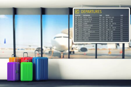 departures: Airport Departures Table with Suitcases extreme closeup. 3d Rendering