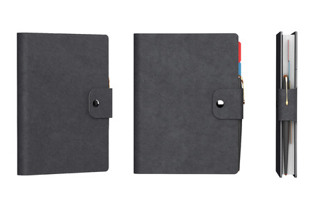 Personal Diary or Organiser Books with Leather Cover on a white background. 3d Rendering Stock Photo
