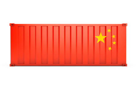 dockyard: China Export Concept. Shipping Container with China Flag on a white background. 3d Rendering Stock Photo