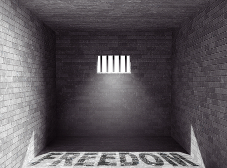 barred: Prison with light and Freedom Shadow through a barred window. 3d Rendering