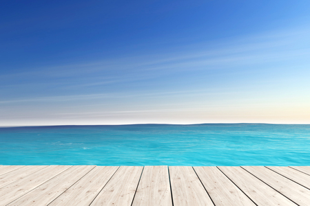 pier: Blue Sea with Wooden Pier extreme closeup. 3d Rendering