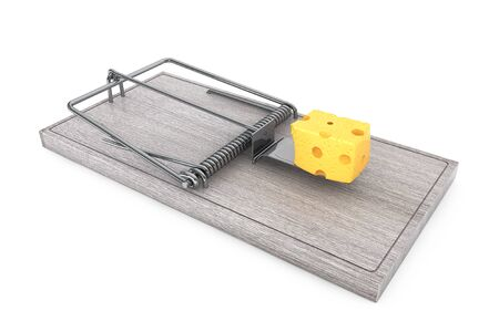 entrapment: Mouse trap with a lpiece of cheese on a white background. 3d Rendering