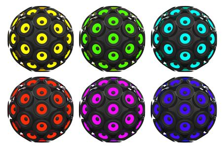 sub woofer: Multicolour Audio Speakers as Sphere on a white background. 3d Rendering