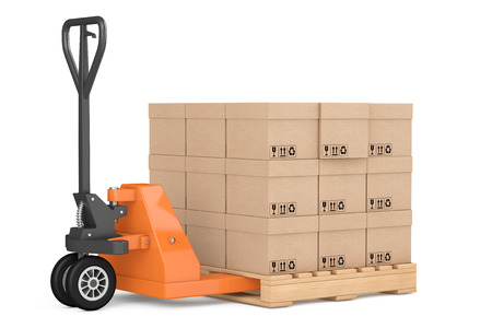 hand truck: Hand Pallet Truck with Boxes on a white background. 3d Rendering