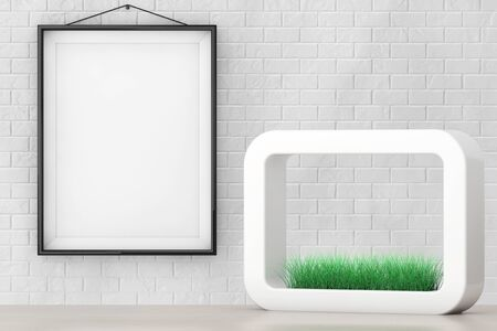 planter: Grass in White Ceramics Planter in front of Brick Wall with Blank Frame extreme closeup. 3d Rendering