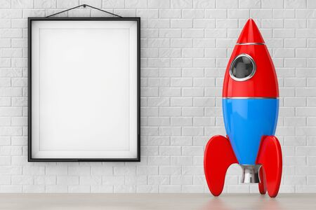 blank bomb: Childs Toy Rocket in front of Brick Wall with Blank Frame extreme closeup. 3d Rendering