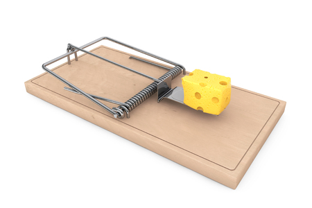 entrapment: Mouse trap with a piece of cheese on a white background. 3d Rendering Stock Photo