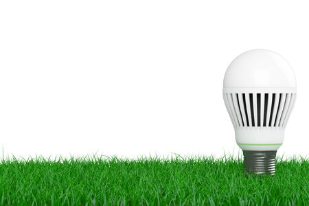 led bulb: Ecology Energy Save Concept. Led Bulb over Grass on a white background. 3d Rendering