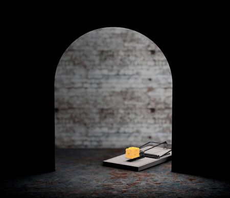 entrapment: Mouse trap with a piece of cheese looking from hole extreme closeup. 3d Rendering