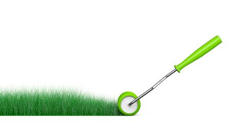 roller brush: Paint Roller Brush Draws Grass Road on a white background. 3d Rendering Stock Photo