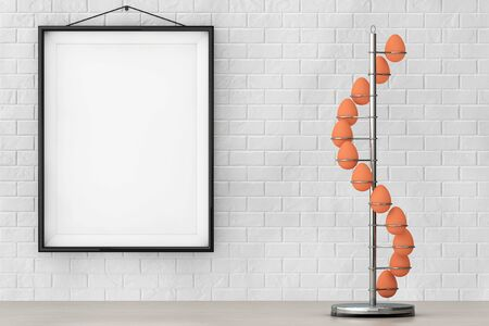 intact: Steel Eggs Holder in the shape of Spiral in front of Brick Wall with Blank Frame extreme closeup. 3d Rendering