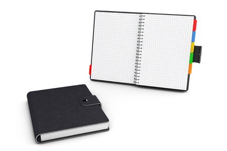appointment: Personal Diary or Organiser Book with Blank Pages on a white background. 3d Rendering Stock Photo