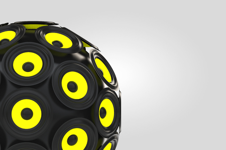 large group of object: Audio Speakers as Sphere on a white background. 3d Rendering