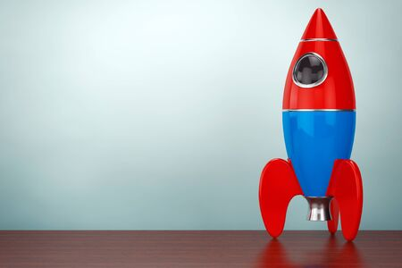 desk toy: Old Style Photo. Childs Toy Rocket on the table. 3d rendering Stock Photo