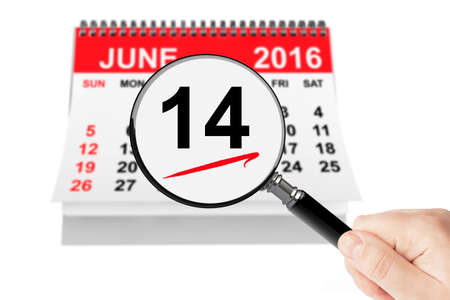 14: Flag Day Concept. 14 june 2016 calendar with magnifier on a white background