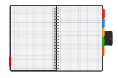 organizer: Personal Diary or Organiser Book with Blank Pages on a white background. 3d Rendering Stock Photo