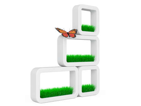 planters: Set of Grass in White Ceramics Planters with Butterfly on a white background. 3d Rendering