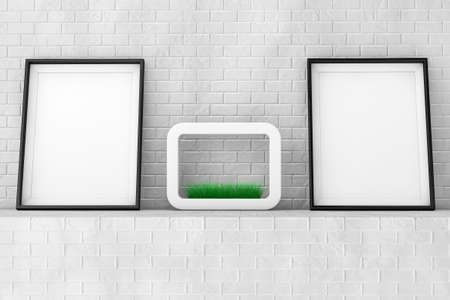 planter: Blank Picture Frames with Grass in White Ceramics Planter on the Brick Wall extreme closeup. 3d Rendering