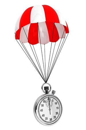 dangerous ideas: Red and White parachute with Stopwatch on a white background. 3d Rendering