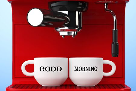 stainless steel pot: Espresso Coffee Making Machine and Cups with Good Morning Sign extreme closeup. 3d Rendering