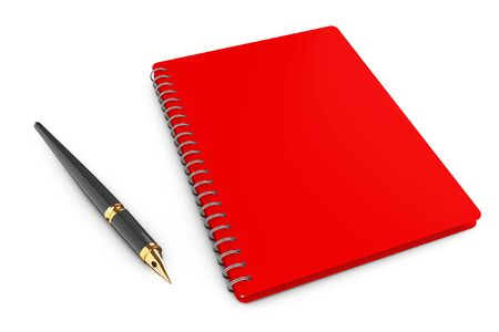 adress book: Personal Diary or Organiser Book with Pen on a white background. 3d Rendering Stock Photo