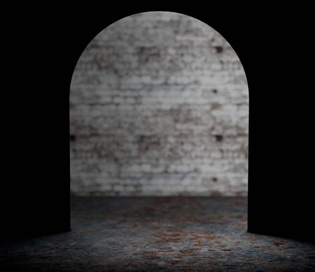 endangerment: Looking from Mouse Wall Hole extreme closeup. 3d Rendering