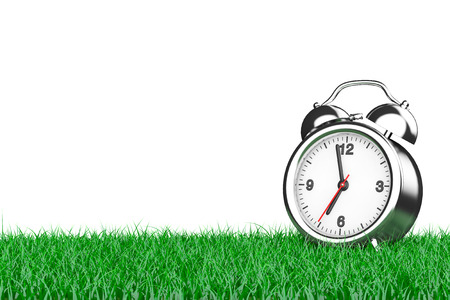 day light: Alarm Clock over Grass on a white background. 3d Rendering