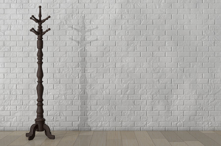 wood carving 3d: Vintage Wooden Coat Rack in front of Brick Wall. 3d Rendering