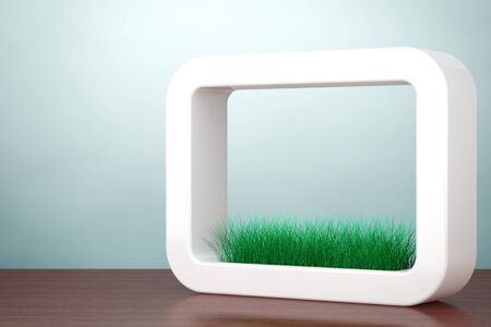 planter: Old Style Photo. Grass in White Ceramics Planter on the table. 3d rendering