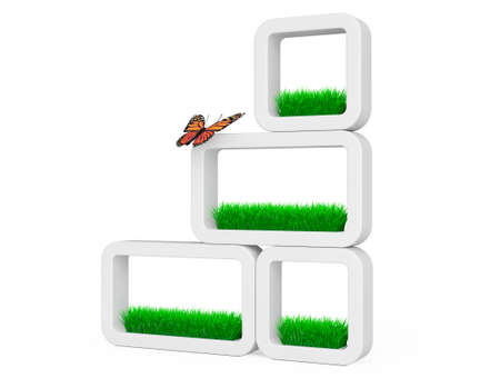 ceramics: Set of Grass in White Ceramics Planters with Butterfly on a white background. 3d Rendering