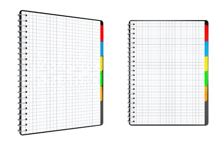 organiser: Personal Diary or Organiser Books with Blank Pages on a white background. 3d Rendering Stock Photo