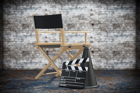 directors cut: Director Chair, Movie Clapper and Megaphone on a grunge background. 3d Rendering