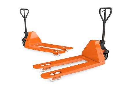 jack pack: Hand Pallet Trucks on a white background. 3d Rendering