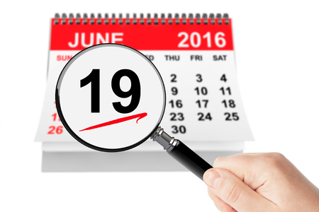 19: Fathers Day Concept. 19 june 2016 calendar with magnifier on a white background